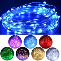 Wholesale Led Battery Operated Lights Wholesale - 100 LED 33ft Fairy String Lights Battery Operated Waterproof 8 Modes String Lights Battery Copper Wire Firefly Lights Remote Control