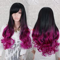 Wholesale Cheap Side Bang - Cheap Ombre Two-tone Wig 1pcs 26inch 260g Synthetic Long Wavy Hair Wig With Side Bangs American Wig Heat Resistant