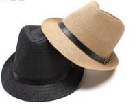 Wholesale Braid Fedora - Unisex Women Men Casual Beach Straw Panama Jazz Hat Cowboy Fedora Cap , 10PCS LOT Free shipping