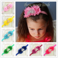 Wholesale Top Baby Headband New Design - New Design 23C Kids Alloy Crown And Chiffon Flowers Headband 46pcs lot Top Quality Headwears For Baby Girls Hair Accessories