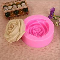 moldes de silicone 3d para sabão venda por atacado-2014 3d rosa chocolate molde, ferramentas de decoração do bolo fondant, molde de silicone bolo sabão venda quente