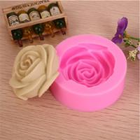 ingrosso muffa di rosa del cioccolato 3d-2014 3D Rosa della muffa del cioccolato, torta del fondente che decora gli attrezzi, torta del silicone muffa del sapone di vendita caldi