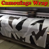 Wholesale Camo Vinyl Wrap Roll - Black white Grey Arctic Camouflage   Camo Vinyl For Car Wrap Pixel Camo Sticker Film with air release Vehicle graphic Size:1.52 x 30m Roll