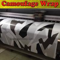 x film vinilo al por mayor-Negro blanco gris Ártico Camuflaje / Camo de vinilo para el coche Abrigo Pixel Camo Etiqueta de la película con el lanzamiento de aire gráfico del vehículo Tamaño: 1.52 x 30 m / Roll