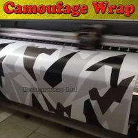 araba için siyah beyaz çıkartmalar toptan satış-Siyah beyaz Gri Arctic Kamuflaj / Camo Vinil Araba Wrap Piksel Camo Sticker Film hava tahliye Araç grafik Boyutu: 1.52 x 30m / Rulo