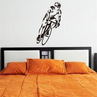 ingrosso carta da parati della parete di sport-corsa IDFIAF della bicicletta muro Palyer Sport arte Art Decor vinile Hollow decalcomania del ragazzo in camera Home Decor Wallpaper murale