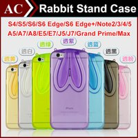 Wholesale Galaxy S4 Folding Case - Qute 3D Cartoon Rabbit Ear Soft Clear Stand Case For Galaxy S4 S5 S6 Edge S6 Edge+ Note 2 3 4 5 Note5 Bunny Transparent Folding Cover DHL