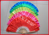 Wholesale Chinese Fan Red - Short Dancing Fans Folk Art Fan Chinese Style Belly Dance Silk Fans Bamboo Frame Hand Fan