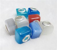 8x12mm DIY Handmade Lampwork Bead Big Hole loose Murano Cat Eye Spacer European Core Beads