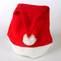 Wholesale Cheap Clothes Decorations - Wholesale-Red Christmas hat Christmas Gifts Cheap Christmas Decorations Adult&Child Christmas hat Christmas Party Clothing
