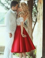 Wholesale Two Piece Night Club Wear - Two Pieces White Red Homecoming Gowns Lace Satin Short Prom Gowns Off Shoulder Ruffles 8th Graduation Dress Night Club Gown SHJ