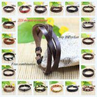 Wholesale Genuine China Wholesale - 30Pcs Lot High Quality(not bad quality) 223 Designs Choose Wholesale Bangles braided Genuine Leather Bracelet Multilayer Rope Wrap Bracelet
