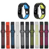 Atacado Beautiful Replacement Pulseira de Silicone de Cor dobro para Fitbit Charge 2 Band Strap Wristband Watchbands