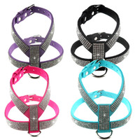 Wholesale Dog Collar Leather Harness - Luck Pet Products Factory Hot Selling fashion suede leather bling rhinestone dog harness 4 colors SM307
