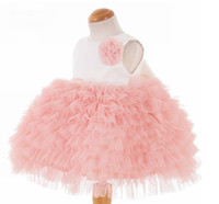 echte probe blumen linie großhandel-Real Sample Custom Made Blumenmädchen Kleider Günstige Kleine Hübsche Eine Linie Juwel Tiered Knielanges Tüll Kleid