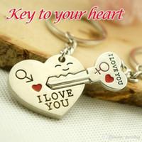 anahtar zincir çinko alaşımı toptan satış-2015 Yeni Çinko Alaşım Gümüş Kaplama Severler Hediye Çift Seni Seviyorum Kalp Anahtarlık Moda Anahtarlık Yaratıcı Anahtarlık