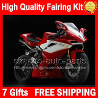 7gifts + Carrosserie MV Agusta F4 05-06 Rouge blancs R312 750S 1000 2005 2006 R 750 4CL77 1000R rouge 312 1 078 1 + 1 Kit MA 05 06 Carénage brillant