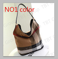 Wholesale Casual Day Dresses For Women - gift new for Canvas Bag Plaid casual hobo bag for Women leather handbag Shoulder messenger bag
