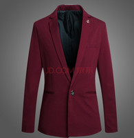 Wholesale Boys Suit Size Red - A grain of male han edition cultivate one's morality a little suit city boy best man wedding dress suit jacket Wine red