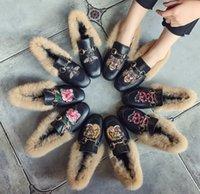 Wholesale Winter Woolen Shoes - European autumn and winter woolen lazy shoes casual students shoes flat bottom rabbit fur peas square head women's shoes Conversed