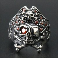 Wholesale Single China Plates - 1pc Newest Men Boy Ruby Single Eye Skull Ring 16L Stainless Steel Top Selling Popular Skull Ring