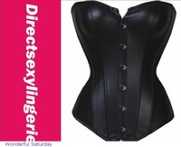 Wholesale Leather Strapless Top - Wholesale-2015 Fajas Modeladoras Sexy Women Strapless Lace Up Faux Leather Overbust Corset Bustier Top Shaper Lingerie Lc5223 Girl Shirt