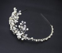 Wholesale Pearl Frontlet - Frontlet Soft Brightly Colored Handmade Crystal Rhinestone Chain Korean Wedding Headdress Head Flower Hair Accessories For Wedding