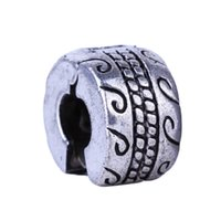 1piece Argent Clips Perles Serrures en alliage European Charm Tire Forme Stopper Bead Fit mode Bracelets Bangles fabrication de bijoux bricolage
