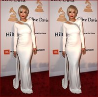 Wholesale Grammy Dress Knee Length - 2015 Rita Ora 57th Grammy Celebrity Dresses White Jewel Neck Beaded Long Sleeve Sheath Side Slit Floor-length Formal Gowns Red Carpet Dress