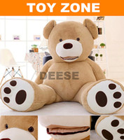 Wholesale Empty Teddies - Wholesale-Factory price 200CM Big mouth Teddy bear coat empty toy skin Plush toys Giant toy Dark Brown Light Brown