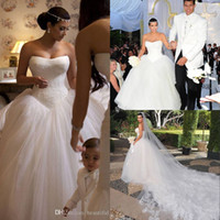 Wholesale Kim Kardashian Ball Gowns - Kim Kardashian Lace Tulle Ball Gown Wedding Dresses Bridal Gown With Chapel Train New Arrival 2015 Cheap Dress