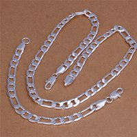 Wholesale Silver Chain 925 Set Figaro - Top quality 925 sterling silver plated Figaro chain necklace (20inches) & Bracelets (8inches) Fashion Jewelry Set For Men Free shipping