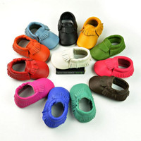 Wholesale toddler moccs - New arrival baby moccasins soft genuine leather moccs booties toddler shoes baby tassel prewalker baby shoes DHL free shipping