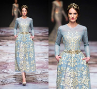 ingrosso michael cinco maniche lunghe-Vintage Tea-length Long Sleeve Prom Dresses with Gold Lace 2018 Modest Michael Cinco Sky Blue Custom Make Evening Wear Pegant Gowns