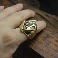 Wholesale golden motor - 1pc 316L Stainless Steel Top Quality Motor Biker Golden 1%ER ring Biker ring