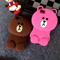 Pour Iphone 6 6S plus I6 6+ 3D doux Teddy Stereo Panda Bear Silicone Gel Rubber Case Brown Animal Cartoon Téléphone Portable peau couverture 1pcs