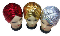 Wholesale Indian Hat Bands - Metallic COS Turban Head Wrap Band Chemo Bandana Hijab Pleated Indian Cap shower bathing cap Hat Beanie Skull Caps gold silver
