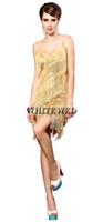 ballsaal dancewear lateinisch großhandel-Speakeasy Prohibition 1920er Jahre Latin Salsa Tango Ballroom Dance Kleid Kleidung Dancewear Wear Kostüme mit Fransen und Quaste Billig für Erwachsene
