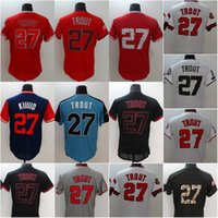 Wholesale Quick Delivery - 2017 Los Angeles Players Weekend Baseball Jerseys All-Star #27 Mike Trout Jersey White Navy Red Blue Grey Flex Base Cool Base Fast delivery