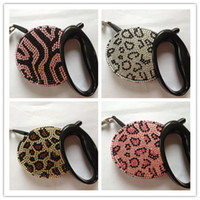 Wholesale Crystal Retractable Leash - Wholesale-Free shipping New top Luxurious crystal Pet dog retractable leash lead Flexible retractable leads pet crystal animal style