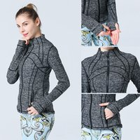 Wholesale Long Ladies Hoodies Sweatshirts - many color style lady scuba hoodie lulu define jacket yoga hoodies Sweatshirts coat top sportswear woman whosale original Outerwear