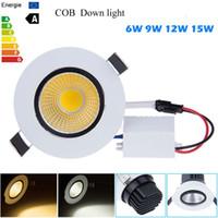 Wholesale 6w Cob Spot Light - New Dimmable Recessed led downlight cob 6W 9W 12W 15W dimmable LED Spot light led ceiling lamp Panel Light AC 110V 220V Spotlights