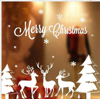 Wholesale Outdoor Christmas Displays - Christmas window stickers Snowflake Santa reindeer window display without glue electrostatic incognito christmas outdoor decorations CS006