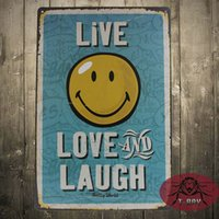 """Wholesale Decoration L Painting - LIVE LOVE LAUGH THREE """"L"""" poster Metal Plaque Vintage Bar Iron painting Retro House Cafe Tin Signs home Decor Gift"""
