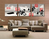 Wholesale canvas prints three panel for sale - Group buy Pieces no frame on Canvas Print Abstract pot orchid chinese characters Calligraphy sea sandy beach Wooden boat petal flower