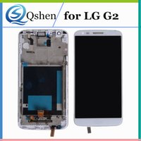 Wholesale lg g2 frame - For LG G2 D800 D802 Lcd Display + Touch Screen Digitizer Full Assembly With Frame Original Quality