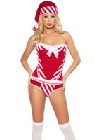 Wholesale Sexy Santa Cheap Costumes - Women's Sexy Christmas Fancy Dress Cosply Costumes Punky Santa Hoody Dress Cheap Price Drop Shipping Free Shipping Ennanna X1197