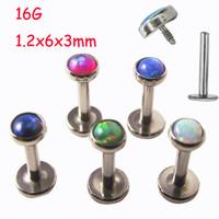 Wholesale Labret Ear - 10pcs 16G Opal Stone Labret Ring Stainless Steel Tragus Ear Piercing Helix Body Piercing Jewelry