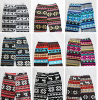 Wholesale Winter Snowflake Leggings - PrettyBaby Colorful christmas snowflake leggings knit leggings Printed Legging Women Winter Warm Legging Pants free shipping in stock