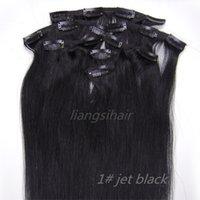 ingrosso estensioni dei capelli del getto nero-Clip in estensioni dei capelli umani di Remy 15